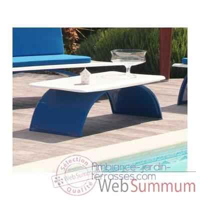 Table basse design bleue, blanche Art Mely - AM16