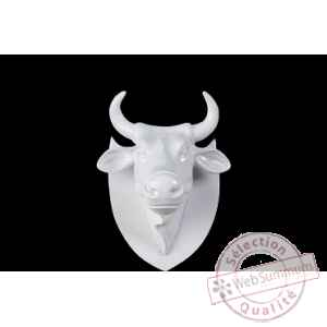 Figurine Trophee vache cowhead white  25cm Art in the City 80997