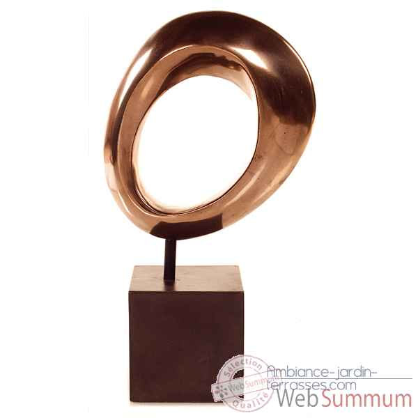 Sculpture-Modele Hoop Table Sculpture w. Box Pedestal, surface bronze nouveau et fer-bs1711nb/iro