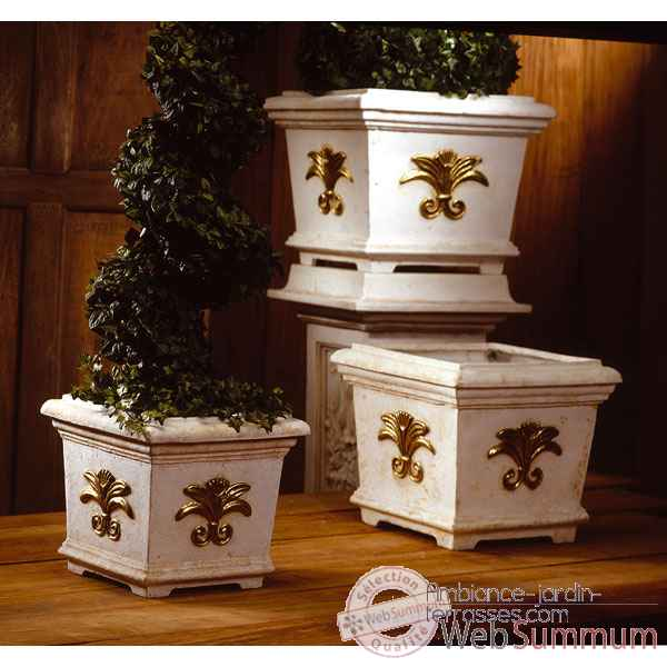 Vases-Modele Tuscany Planter Box -small, surface marbre vieilli patine or-bs2154wwg