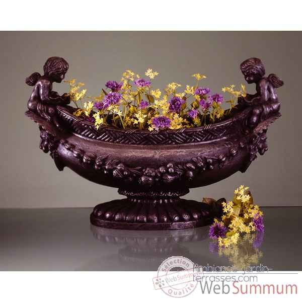 Vases-Modele Cherub Oval Bowl, surface en fer-bs3063iro