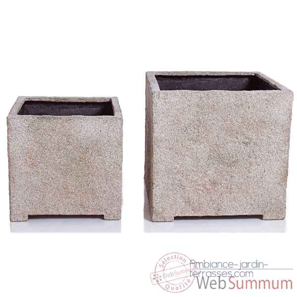 Vases-Modele Cube Planter Medium,  surface granite-bs3320gry