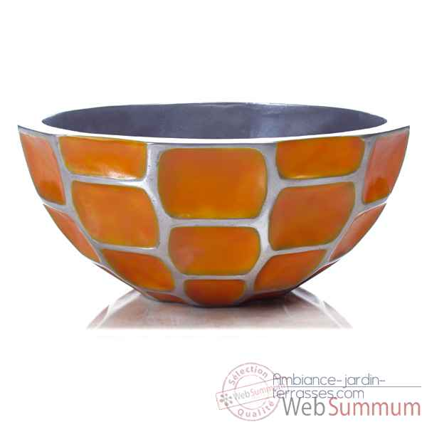 Vases-Modele Mando Bowl, surface aluminium avec patine or-bs3360alu/org
