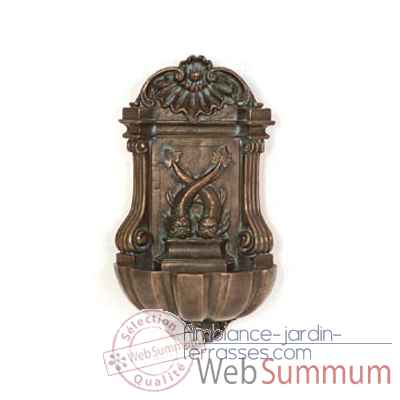 Fontaine-Modele Bretagne Wall Fountain, surface bronze avec vert-de-gris-bs3371vb