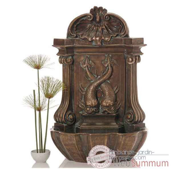 Fontaine-Modele Amadeo Wall Fountain, surface bronze avec vert-de-gris-bs3372vb