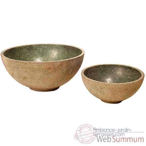 Vases-Modele Sulu Bowl Junior, surface granite et albatre noir-bs3426gry/alab