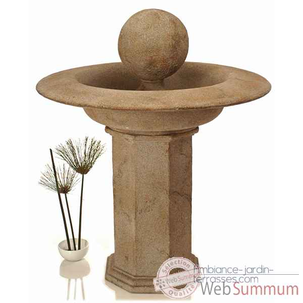 Fontaine-Modele Carva Ball Fountain on Octagonal Pedestal, surface granite-bs4066gry