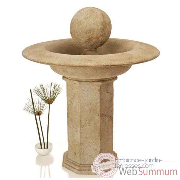 Fontaine-Modele Carva Ball Fountain on Octagonal Pedestal, surface pierre romaine-bs4066ros