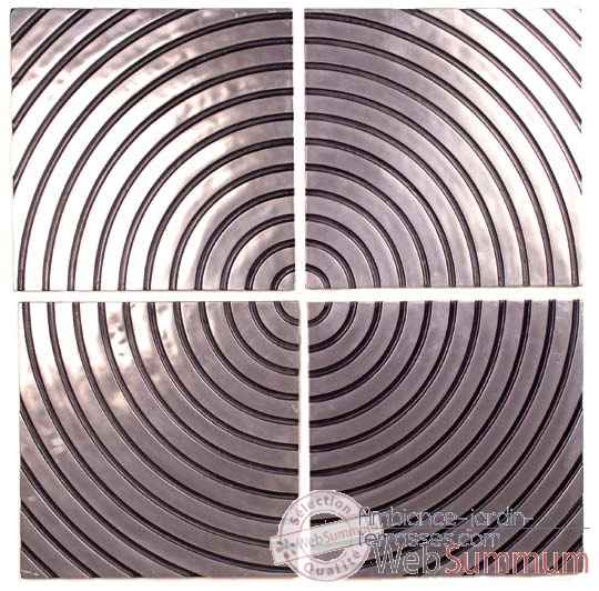 Decoration murale-Modele Concentric Wall Plaque Set, surface aluminium avec patine or-bs4122alu/org