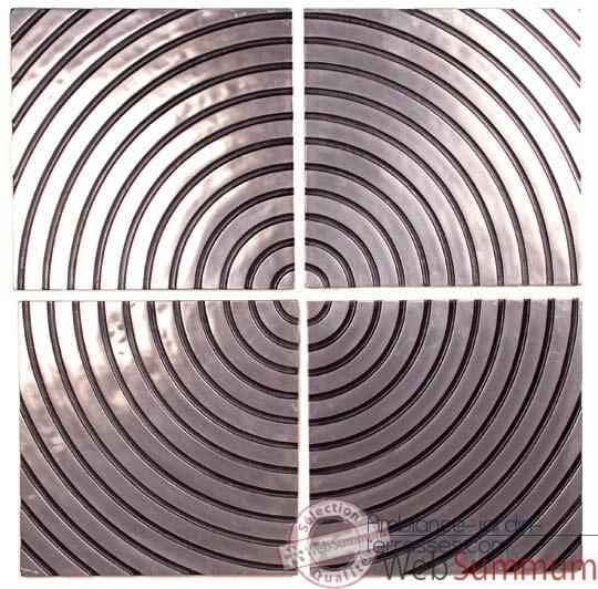Decoration murale Concentric Wall Plaque Set, aluminium et patine or -bs4122alu -org