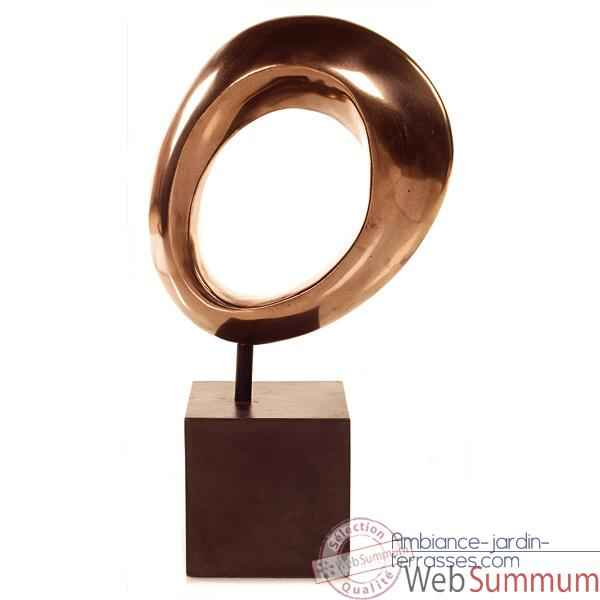 Sculpture Hoop Table Sculpture Box Pedestal, bronze nouveau et fer -bs1711nb -iro