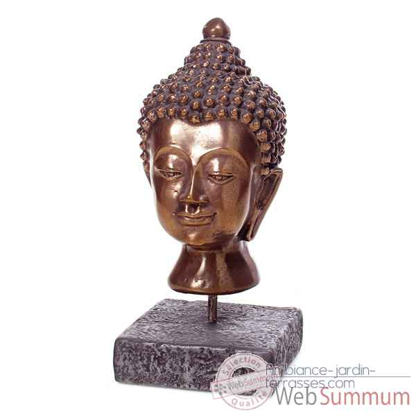 Video Sculpture Buddha Head, aluminium et fer -bs3139alu -iro