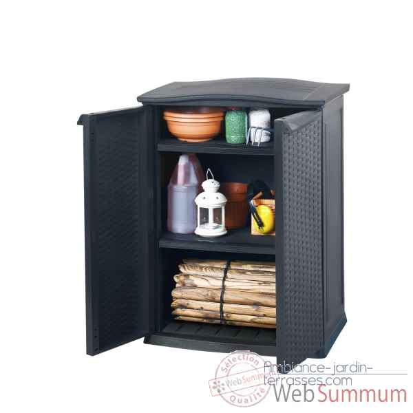 Armoire basse anthracite Chalet Jardin