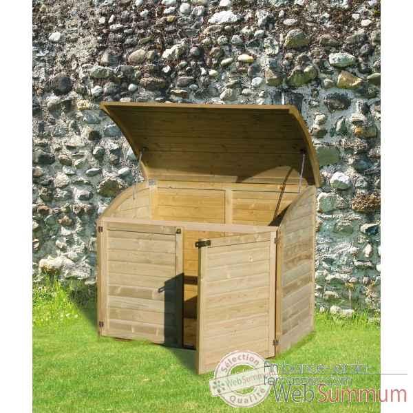 Chalet bois dans chalet et rangement jardin sur ambiance Coffre terrasse bois