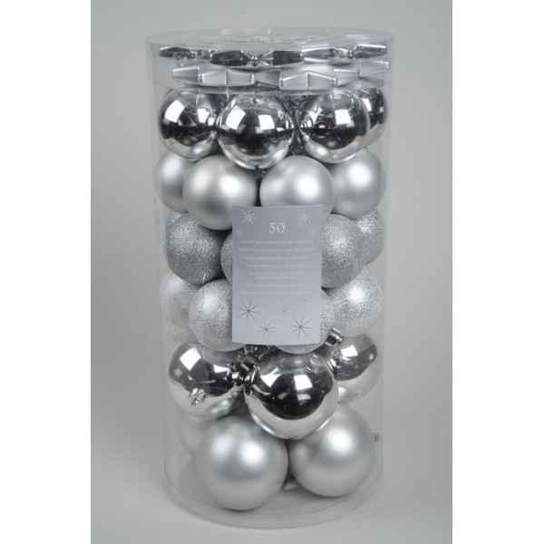 Boules etoiles plastique mix argent kaemingk 23112 de sapin de no l artificiel - Etoile de noel artificielle ...