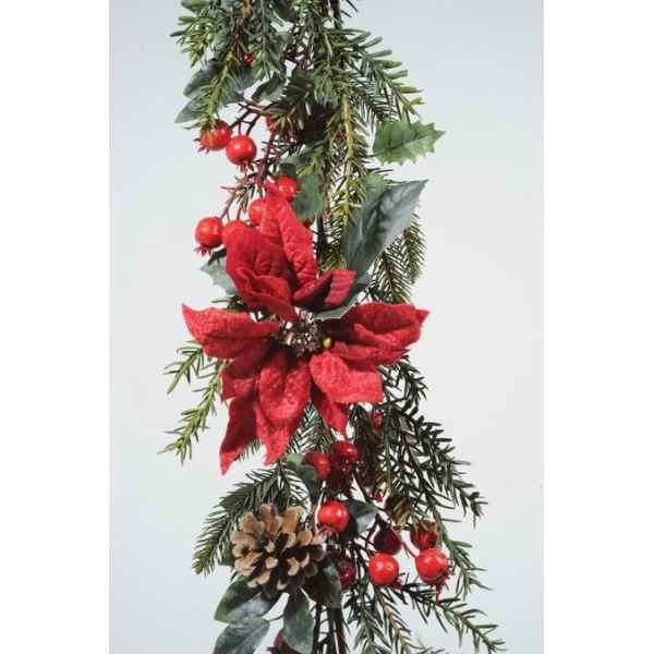 Guirlande poinsettia baies Kaemingk -685187