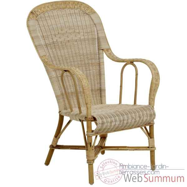 Ensemble 6 fauteuils haut dossier Grand Pere sans filets de couleurs - naturel KOK 979