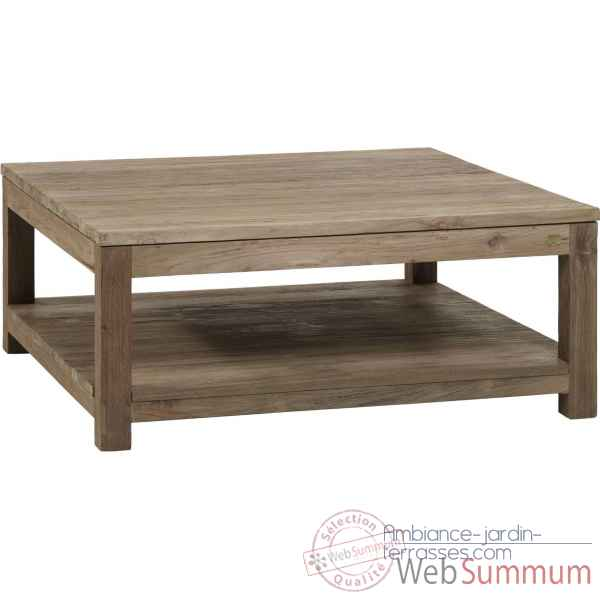 Table basse carree gy drift Teck Recycle naturel brosse KOK M41N