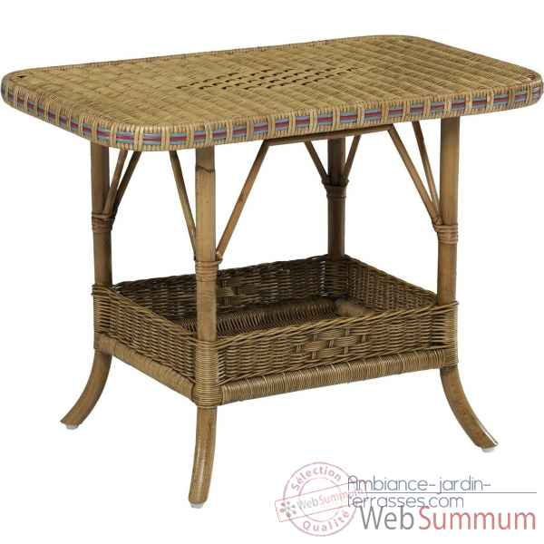 Table basse Grand Pere avec filets de couleurs - patine KOK 796RB