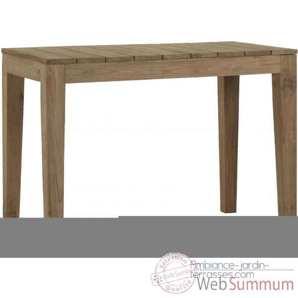 Table haute family outdoor Teck Recyclé naturel brossé KOK M203 Jardin