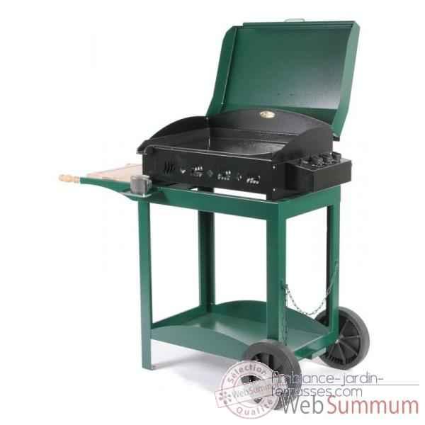 ainara 3 feux s chariot avec couvercle vert le marquier bap3309c10 de planchas. Black Bedroom Furniture Sets. Home Design Ideas