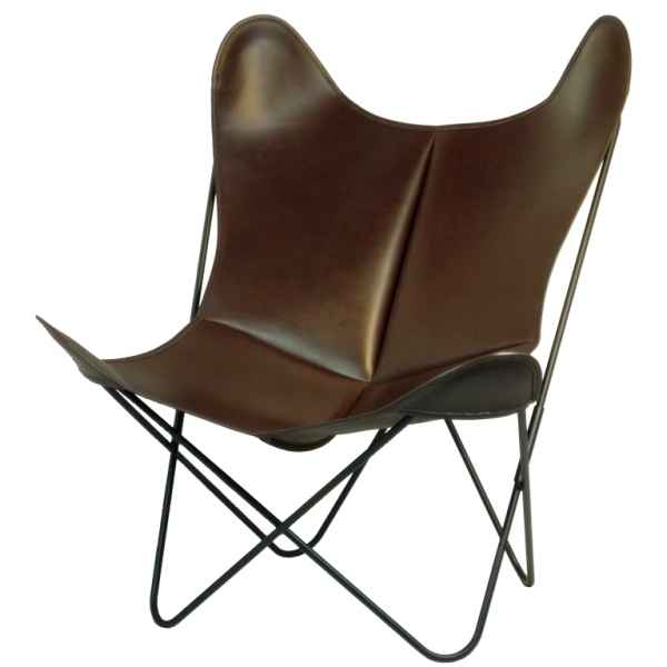 Fauteuil aa butterfly cuir marron fonce AA new design