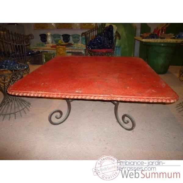 Plateau de table carre rouge 90 cm P-C-90-R