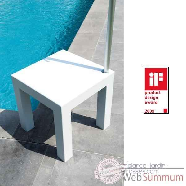Table pied de parasol Sywawa Table Socle Hole in One blanc tube44 -7238WHITE