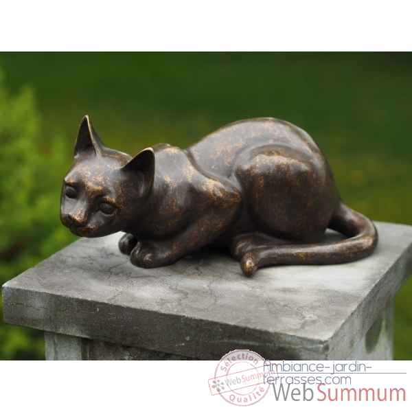 Statue en bronze chat couche thermobrass -an6097br-bi