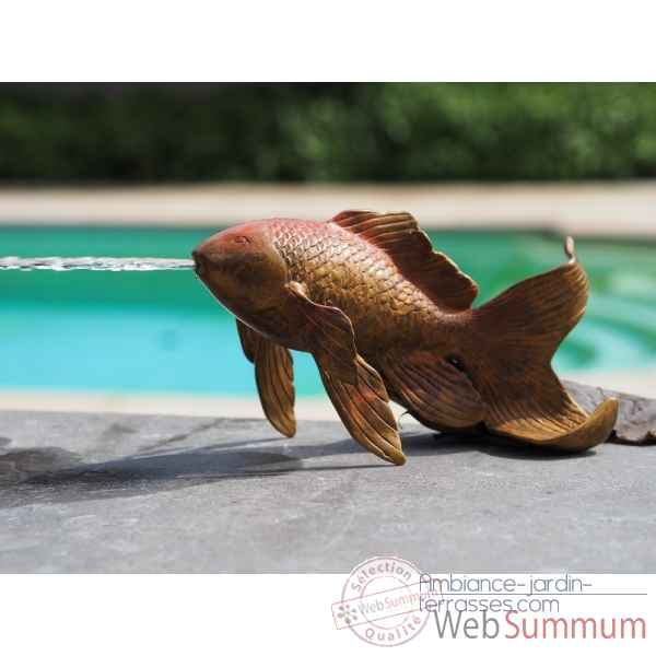 Statue en bronze poisson rouge fontaine thermobrass -an2242brw-hp-f