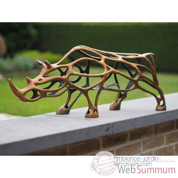 Statue en bronze rhinoceros sculpture en fil thermobrass -an2195br-hp