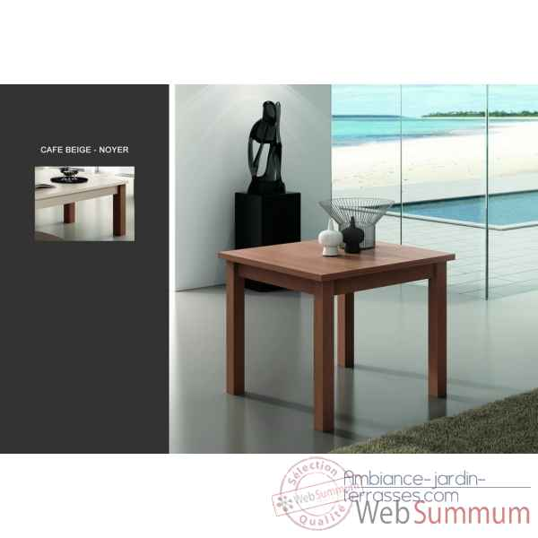 Table + allonge m220 plateau et tablier cafe beige - pieds noyer Urban -11248-3663141