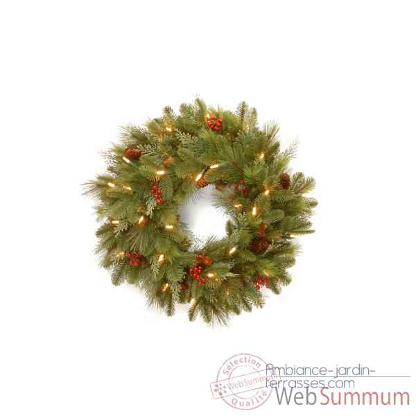 Couronne decorative noel mix pine wreath 30 sw led d61cm Van der Gucht -31NOEL24WB