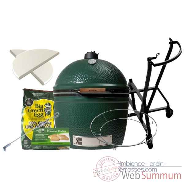 Barbecue multifonction Kamado EGG 2xl Pack Original chariot Big Green Egg -PACORCH-2XL